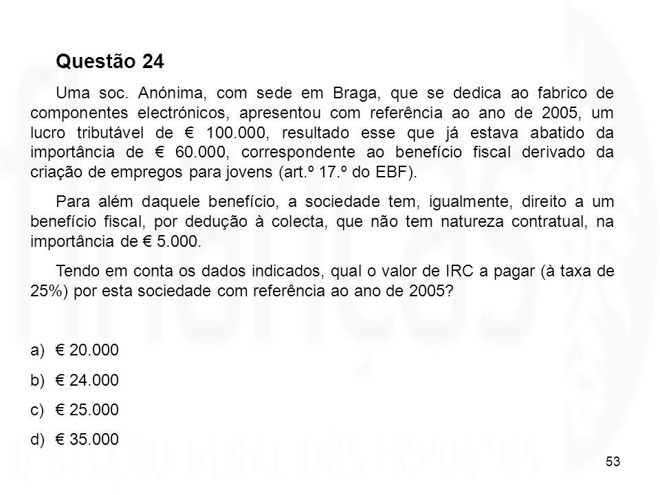53 Questão 24 Uma soc. Anónima, com sede em Braga, que se dedica ao fabrico de componentes electrónicos, apresentou com referência ao ano de 2005, um