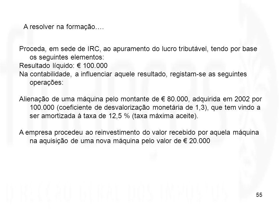 55 Proceda, em sede de IRC, ao apuramento do lucro tributável, tendo por base os seguintes elementos: Resultado líquido: 100.000 Na contabilidade, a i