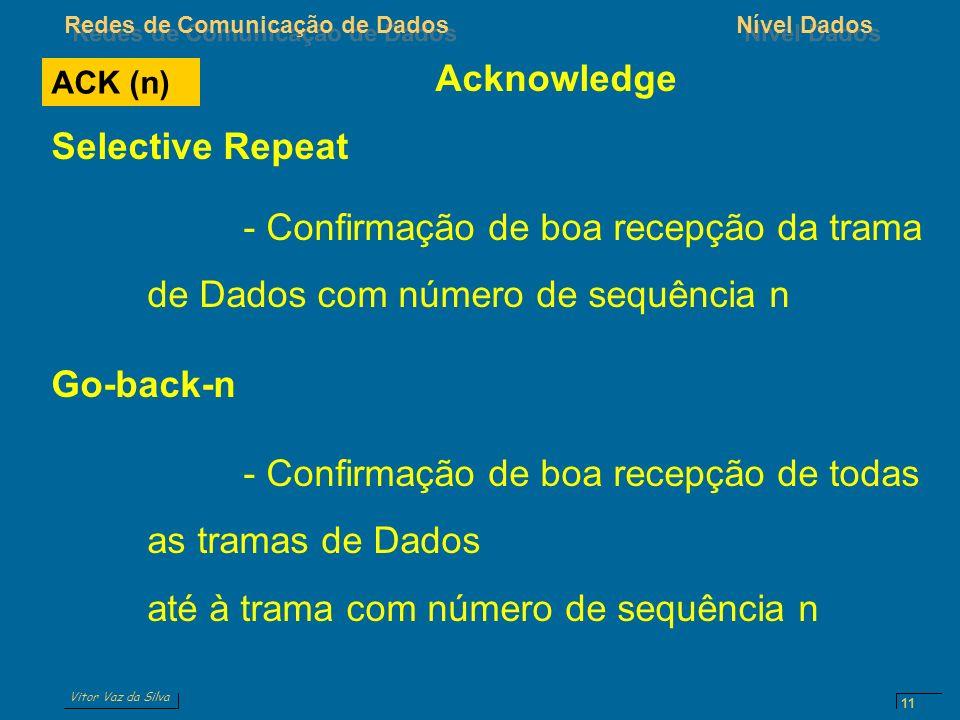 Vitor Vaz da Silva Redes de Comunicação de DadosNível Dados 11 ACK (n) Acknowledge Selective Repeat - Confirmação de boa recepção da trama de Dados co