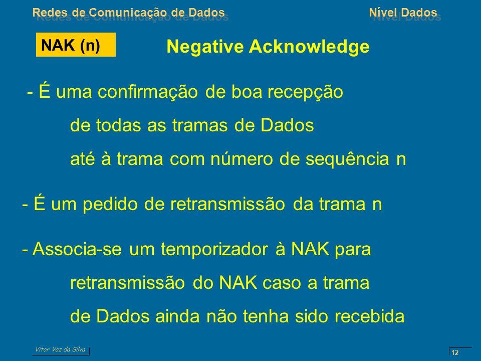 Vitor Vaz da Silva Redes de Comunicação de DadosNível Dados 12 NAK (n) Negative Acknowledge - É uma confirmação de boa recepção de todas as tramas de