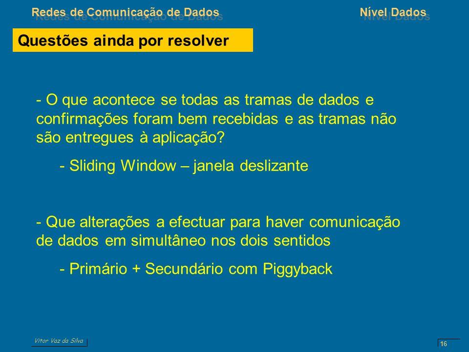 Vitor Vaz da Silva Redes de Comunicação de DadosNível Dados 16 Questões ainda por resolver - O que acontece se todas as tramas de dados e confirmações