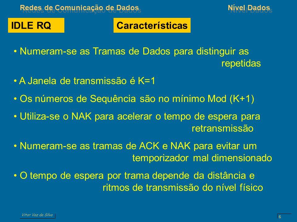 Vitor Vaz da Silva Redes de Comunicação de DadosNível Dados 6 IDLE RQ Numeram-se as Tramas de Dados para distinguir as repetidas A Janela de transmiss