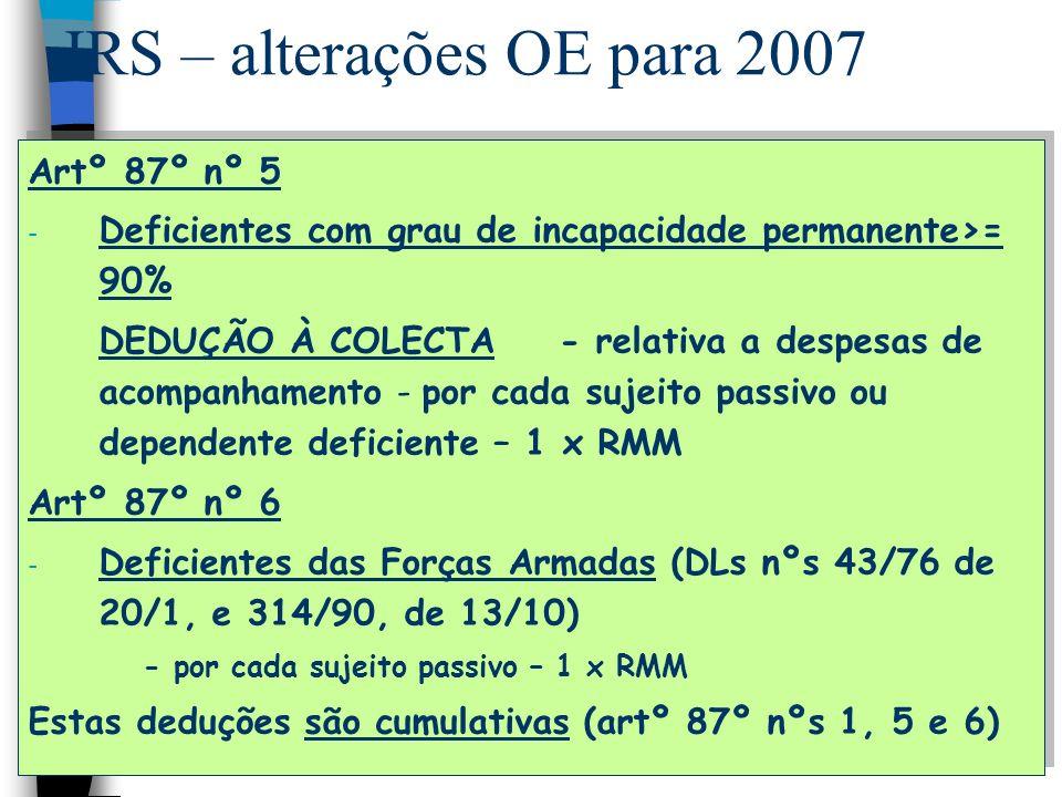 IRS – alterações OE para 2007 Artº 87º nº 5 - Deficientes com grau de incapacidade permanente>= 90% DEDUÇÃO À COLECTA- relativa a despesas de acompanh