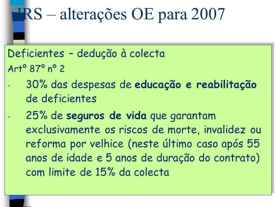 IRS – alterações OE para 2007 Deficientes – dedução à colecta Artº 87º nº 2 - 30% das despesas de educação e reabilitação de deficientes - 25% de segu