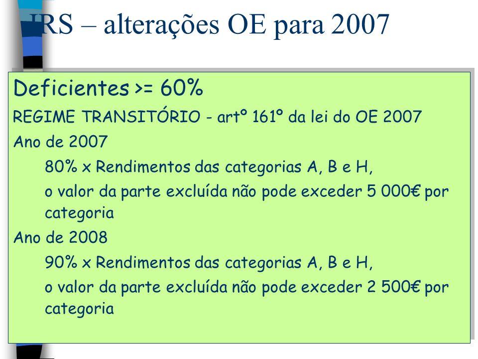 IRS – alterações OE para 2007 Deficientes >= 60% REGIME TRANSITÓRIO - artº 161º da lei do OE 2007 Ano de 2007 80% x Rendimentos das categorias A, B e