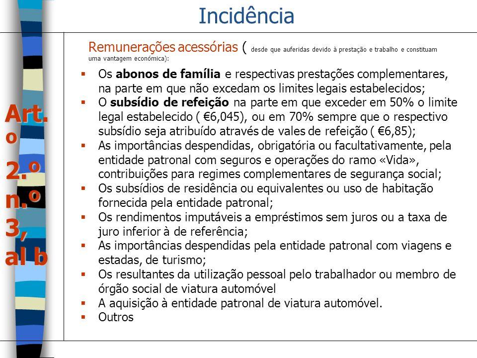 Incidência Os abonos de família e respectivas prestações complementares, na parte em que não excedam os limites legais estabelecidos; O subsídio de re