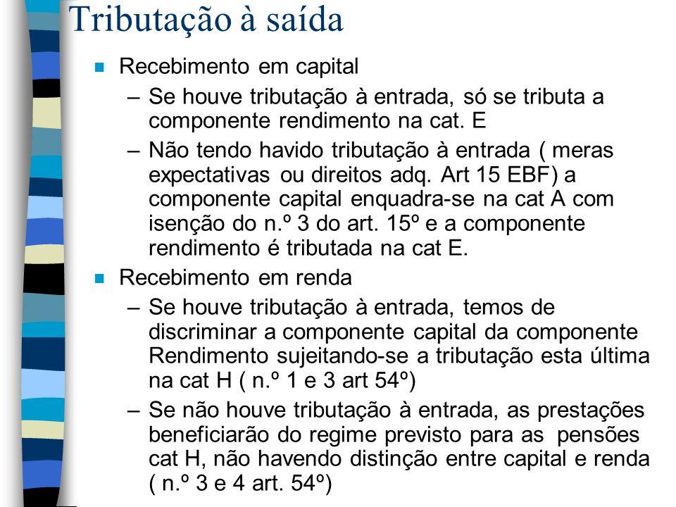 Tributação à saída n Recebimento em capital –Se houve tributação à entrada, só se tributa a componente rendimento na cat. E –Não tendo havido tributaç