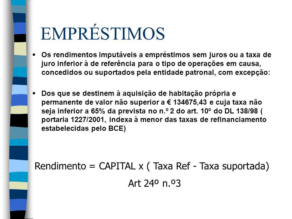 EMPRÉSTIMOS Os rendimentos imputáveis a empréstimos sem juros ou a taxa de juro inferior à de referência para o tipo de operações em causa, concedidos