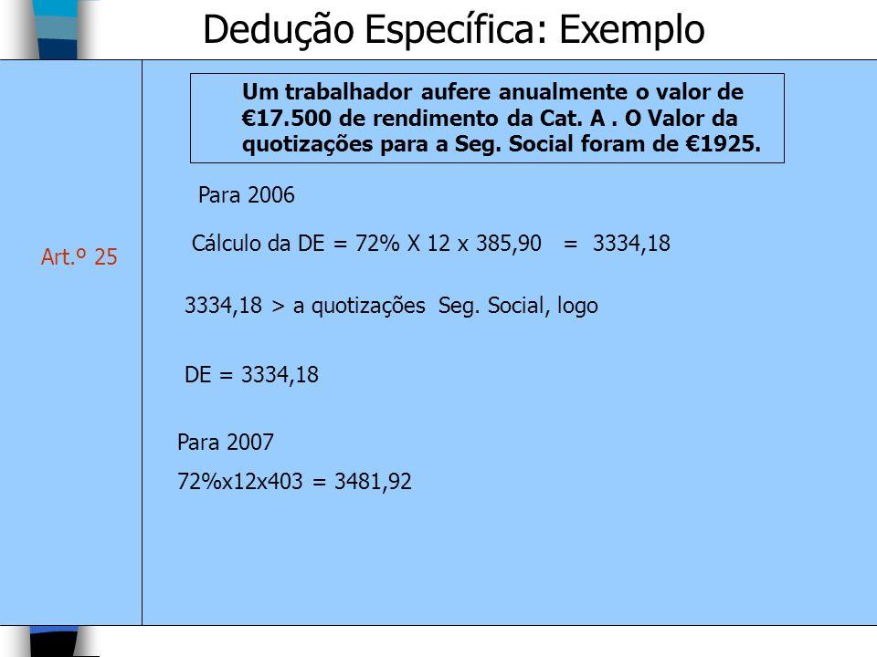 Dedução Específica: Exemplo Art.º 25 Um trabalhador aufere anualmente o valor de 17.500 de rendimento da Cat. A. O Valor da quotizações para a Seg. So