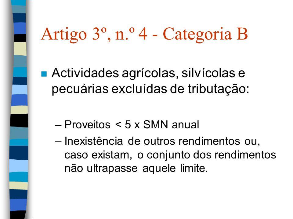 Artigo 3º, n.º 4 - Categoria B n Actividades agrícolas, silvícolas e pecuárias excluídas de tributação: –Proveitos < 5 x SMN anual –Inexistência de ou