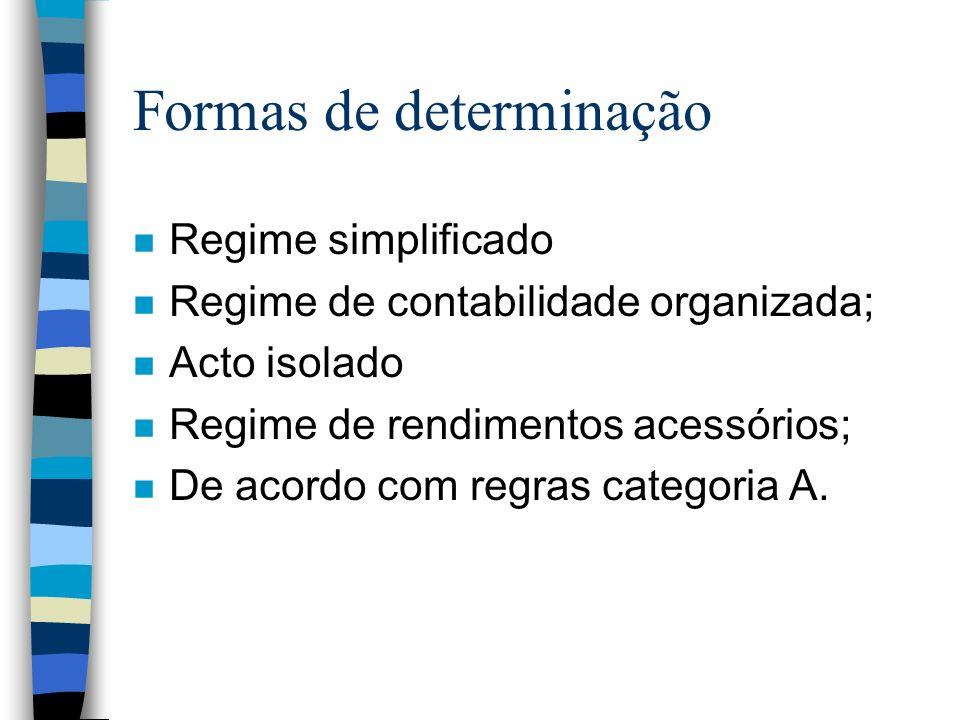 Formas de determinação n Regime simplificado n Regime de contabilidade organizada; n Acto isolado n Regime de rendimentos acessórios; n De acordo com