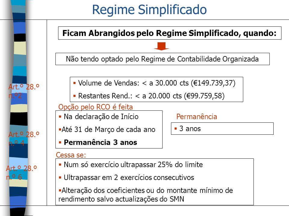 Regime Simplificado Ficam Abrangidos pelo Regime Simplificado, quando: Art.º 28.º n.º2 Volume de Vendas: < a 30.000 cts (149.739,37) Restantes Rend.: