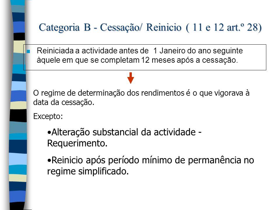 Categoria B - Cessação/ Reinicio ( 11 e 12 art.º 28) n Reiniciada a actividade antes de 1 Janeiro do ano seguinte àquele em que se completam 12 meses