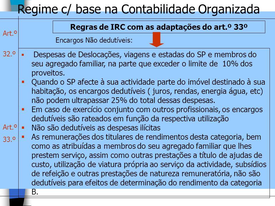 Regime c/ base na Contabilidade Organizada Regras de IRC com as adaptações do art.º 33º Despesas de Deslocações, viagens e estadas do SP e membros do