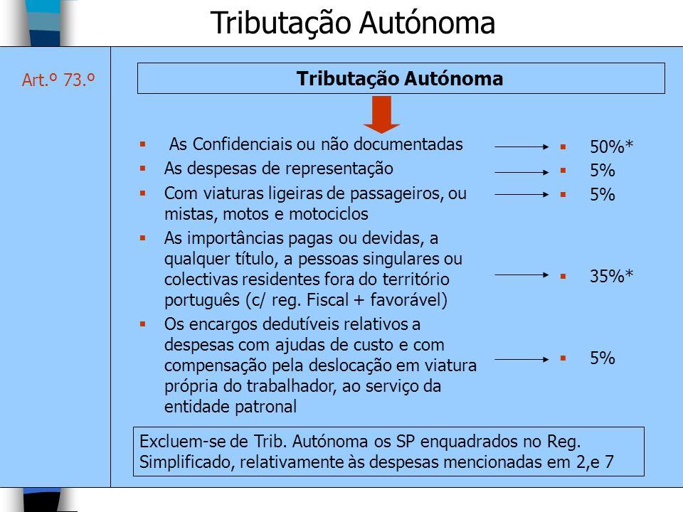 Tributação Autónoma As Confidenciais ou não documentadas As despesas de representação Com viaturas ligeiras de passageiros, ou mistas, motos e motocic