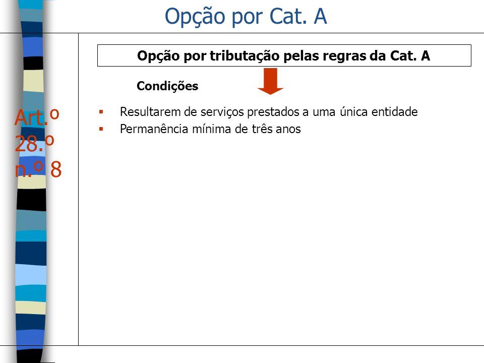 Opção por Cat. A Opção por tributação pelas regras da Cat. A Resultarem de serviços prestados a uma única entidade Permanência mínima de três anos Art