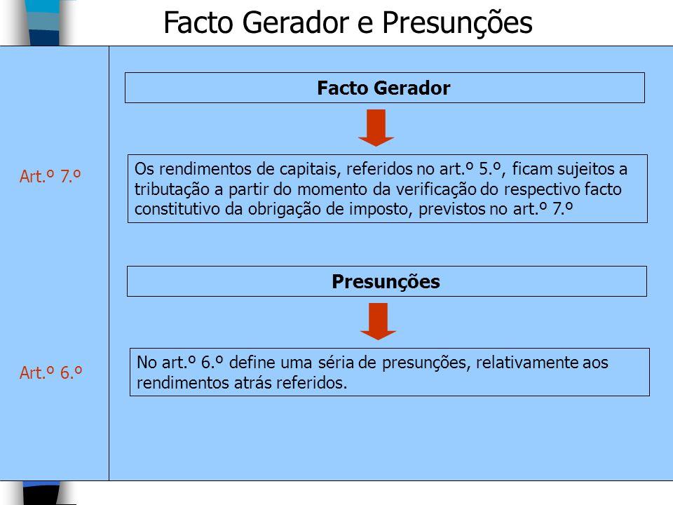 Facto Gerador e Presunções Os rendimentos de capitais, referidos no art.º 5.º, ficam sujeitos a tributação a partir do momento da verificação do respe