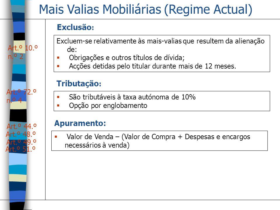 Mais Valias Mobiliárias (Regime Actual) Art.º 10.º n.º 2 Exclusão : Excluem-se relativamente às mais-valias que resultem da alienação de: Obrigações e