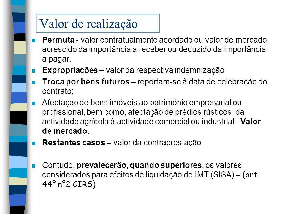 Valor de realização n Permuta - valor contratualmente acordado ou valor de mercado acrescido da importância a receber ou deduzido da importância a pag