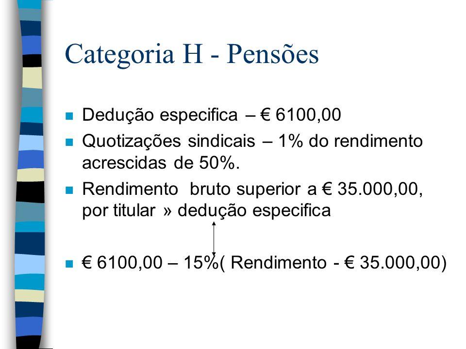 Categoria H - Pensões n Dedução especifica – 6100,00 n Quotizações sindicais – 1% do rendimento acrescidas de 50%. n Rendimento bruto superior a 35.00