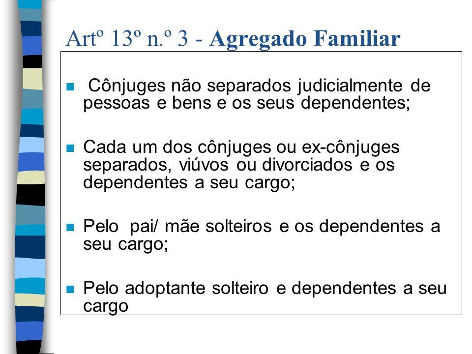 Artº 13º n.º 3 - Agregado Familiar n Cônjuges não separados judicialmente de pessoas e bens e os seus dependentes; n Cada um dos cônjuges ou ex-cônjug