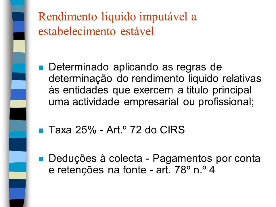 Rendimento liquido imputável a estabelecimento estável n Determinado aplicando as regras de determinação do rendimento liquido relativas às entidades
