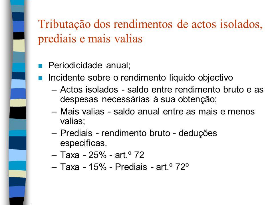 Tributação dos rendimentos de actos isolados, prediais e mais valias n Periodicidade anual; n Incidente sobre o rendimento liquido objectivo –Actos is