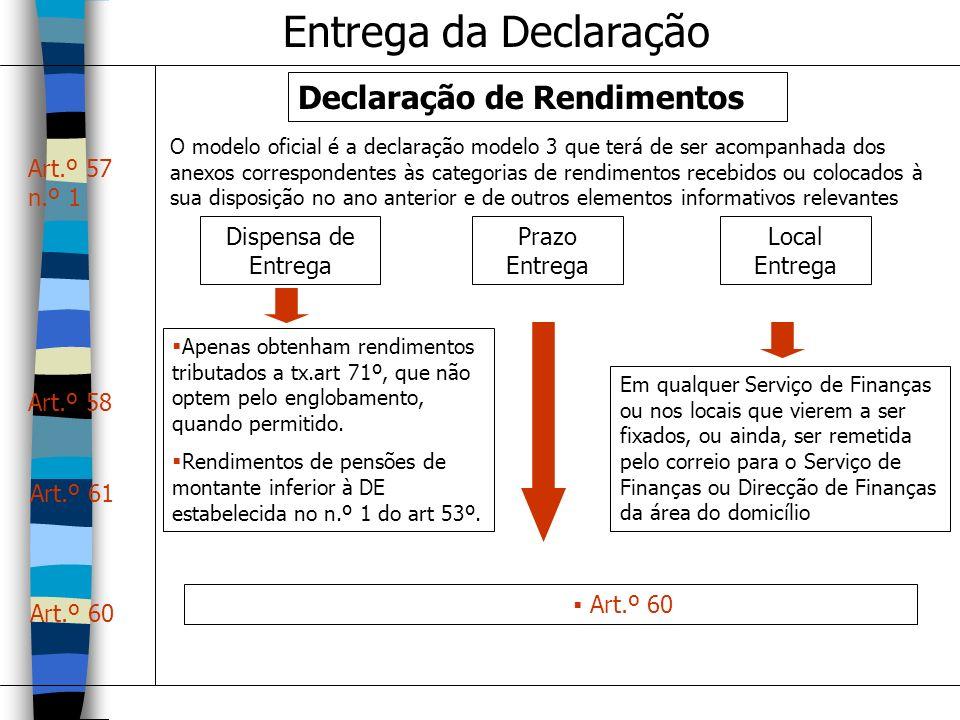 Entrega da Declaração Declaração de Rendimentos Dispensa de Entrega Prazo Entrega Local Entrega O modelo oficial é a declaração modelo 3 que terá de s