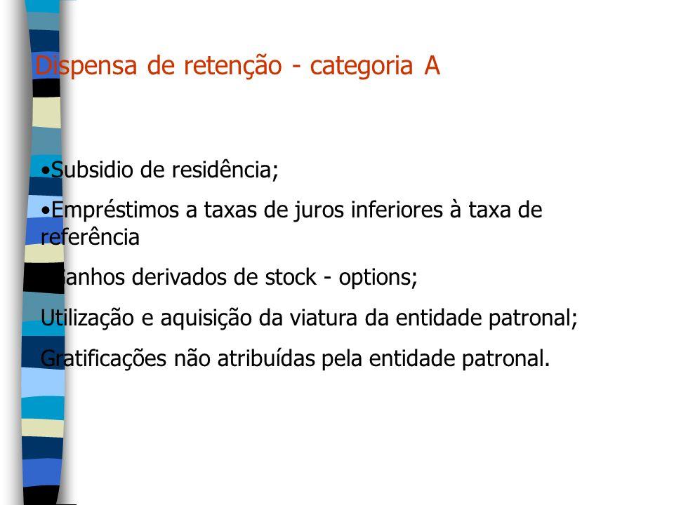Dispensa de retenção - categoria A Subsidio de residência; Empréstimos a taxas de juros inferiores à taxa de referência Ganhos derivados de stock - op