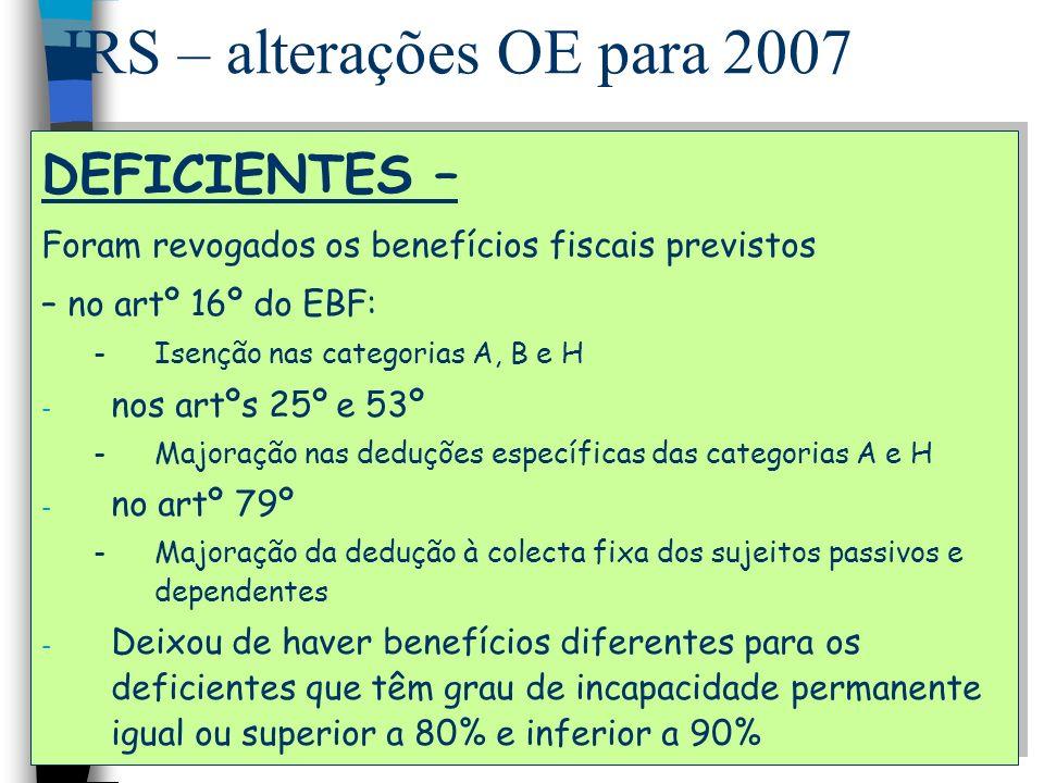IRS – alterações OE para 2007 DEFICIENTES – Foram revogados os benefícios fiscais previstos – no artº 16º do EBF: -Isenção nas categorias A, B e H - n