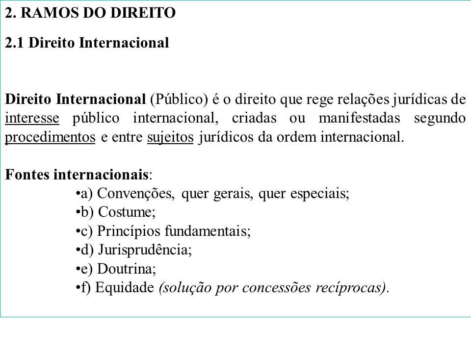 2. RAMOS DO DIREITO 2.1 Direito Internacional Direito Internacional (Público) é o direito que rege relações jurídicas de interesse público internacion