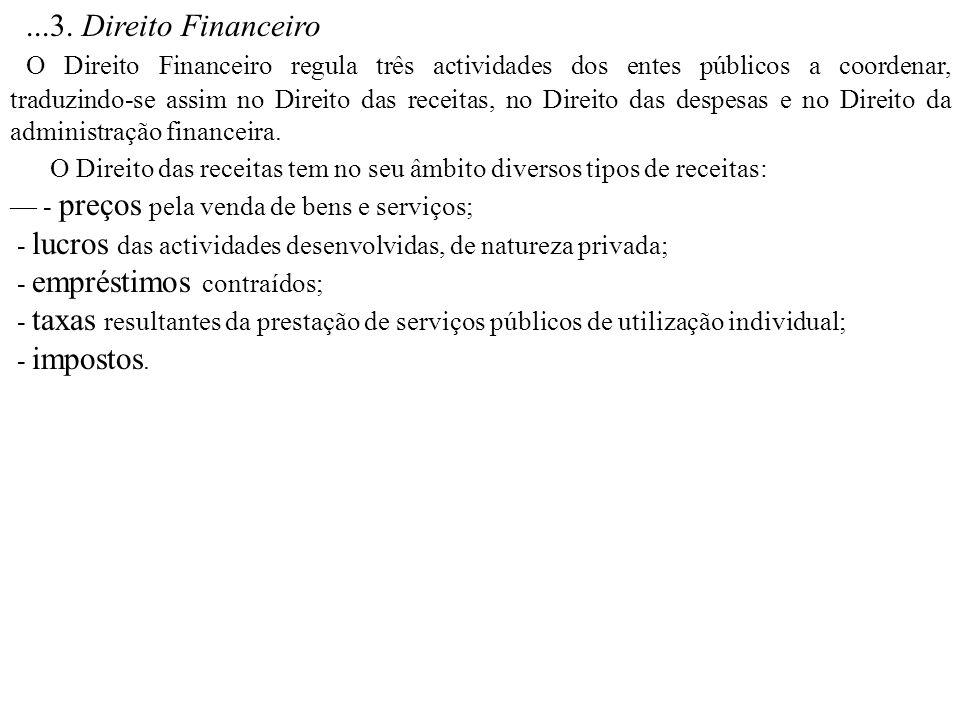 ...3. Direito Financeiro O Direito Financeiro regula três actividades dos entes públicos a coordenar, traduzindo-se assim no Direito das receitas, no