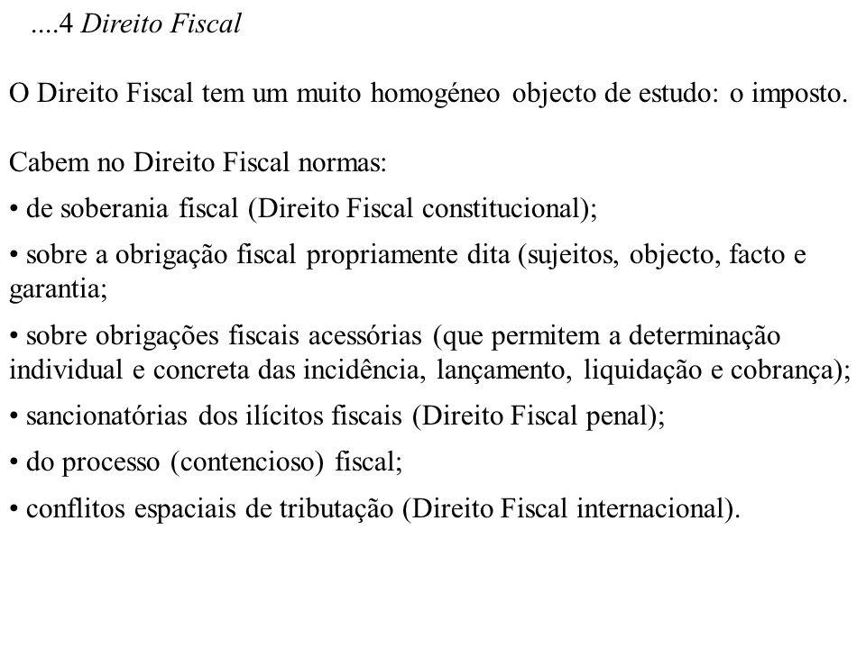 ....4 Direito Fiscal O Direito Fiscal tem um muito homogéneo objecto de estudo: o imposto. Cabem no Direito Fiscal normas: de soberania fiscal (Direit