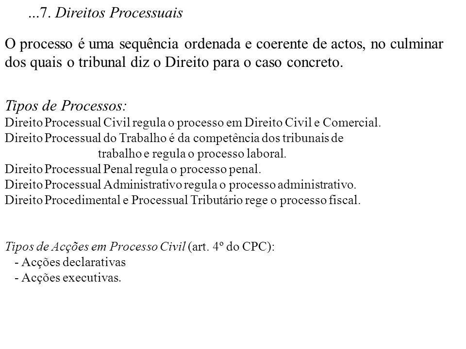 ...7. Direitos Processuais O processo é uma sequência ordenada e coerente de actos, no culminar dos quais o tribunal diz o Direito para o caso concret