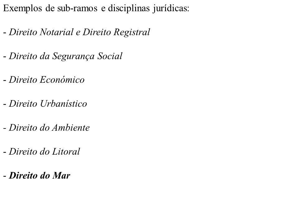 Exemplos de sub-ramos e disciplinas jurídicas: - Direito Notarial e Direito Registral - Direito da Segurança Social - Direito Económico - Direito Urba