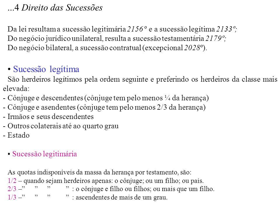 ...4 Direito das Sucessões Da lei resultam a sucessão legitimária 2156 º e a sucessão legítima 2133º; Do negócio jurídico unilateral, resulta a sucess