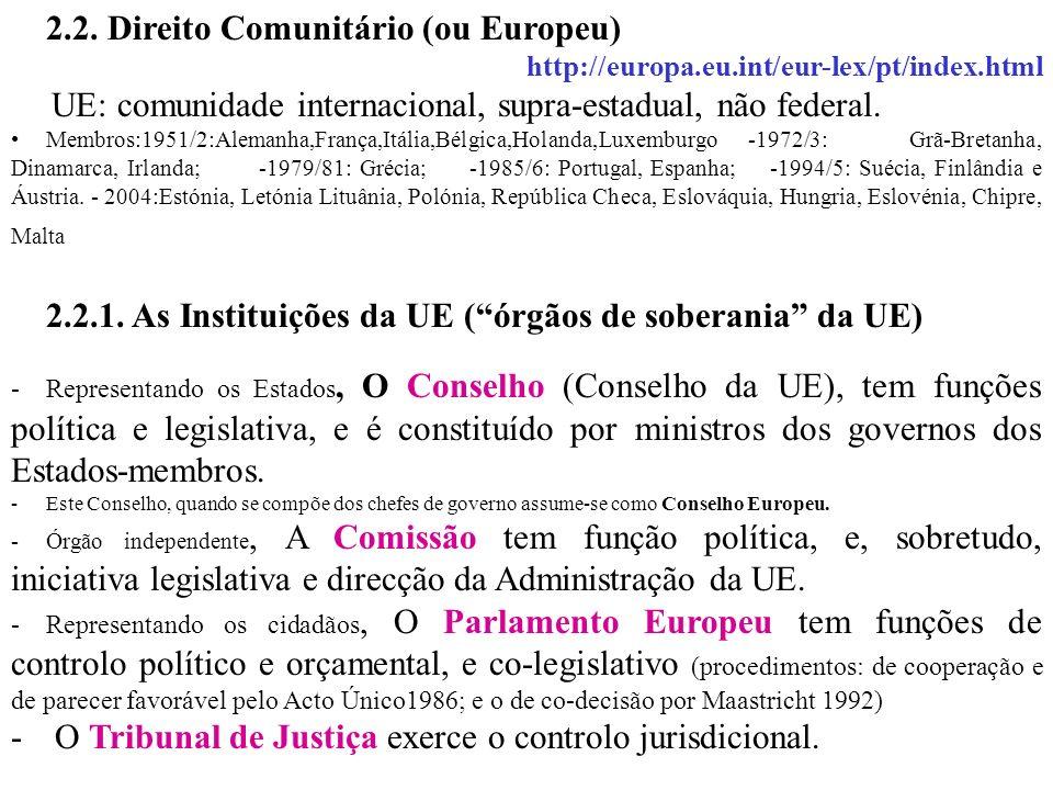 2.2. Direito Comunitário (ou Europeu) http://europa.eu.int/eur-lex/pt/index.html UE: comunidade internacional, supra-estadual, não federal. Membros:19