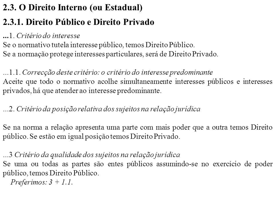 2.3. O Direito Interno (ou Estadual) 2.3.1. Direito Público e Direito Privado...1. Critério do interesse Se o normativo tutela interesse público, temo