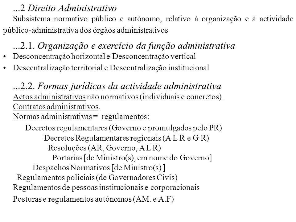 ...2 Direito Administrativo Subsistema normativo público e autónomo, relativo à organização e à actividade público-administrativa dos órgãos administr