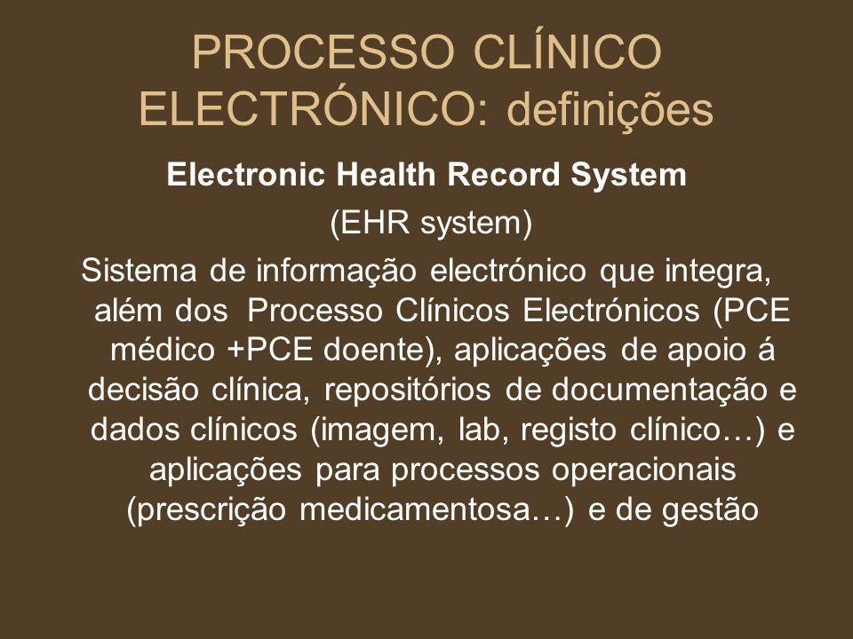 PROCESSO CLÍNICO ELECTRÓNICO: definições Electronic Health Record System (EHR system) Sistema de informação electrónico que integra, além dos Processo