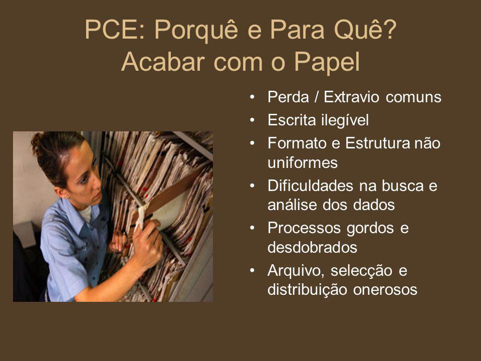 PCE: Porquê e Para Quê? Acabar com o Papel Perda / Extravio comuns Escrita ilegível Formato e Estrutura não uniformes Dificuldades na busca e análise