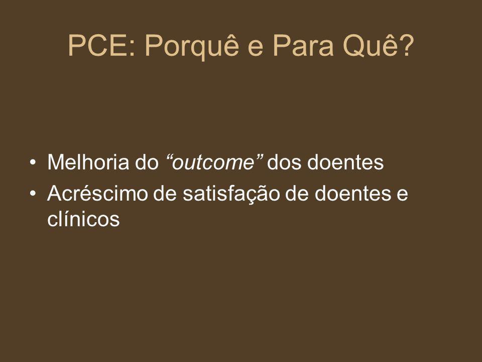 PCE: Porquê e Para Quê? Melhoria do outcome dos doentes Acréscimo de satisfação de doentes e clínicos