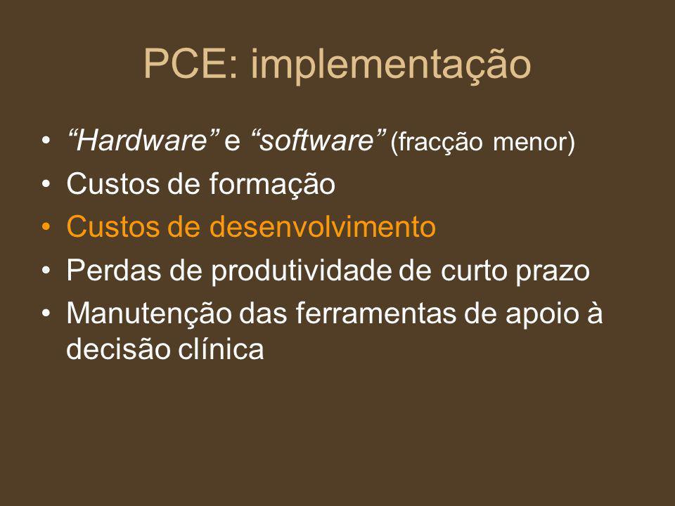 PCE: implementação Hardware e software (fracção menor) Custos de formação Custos de desenvolvimento Perdas de produtividade de curto prazo Manutenção