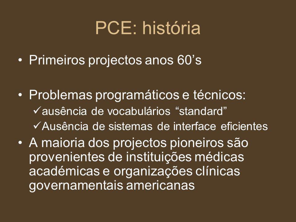 PCE: história Primeiros projectos anos 60s Problemas programáticos e técnicos: ausência de vocabulários standard Ausência de sistemas de interface efi