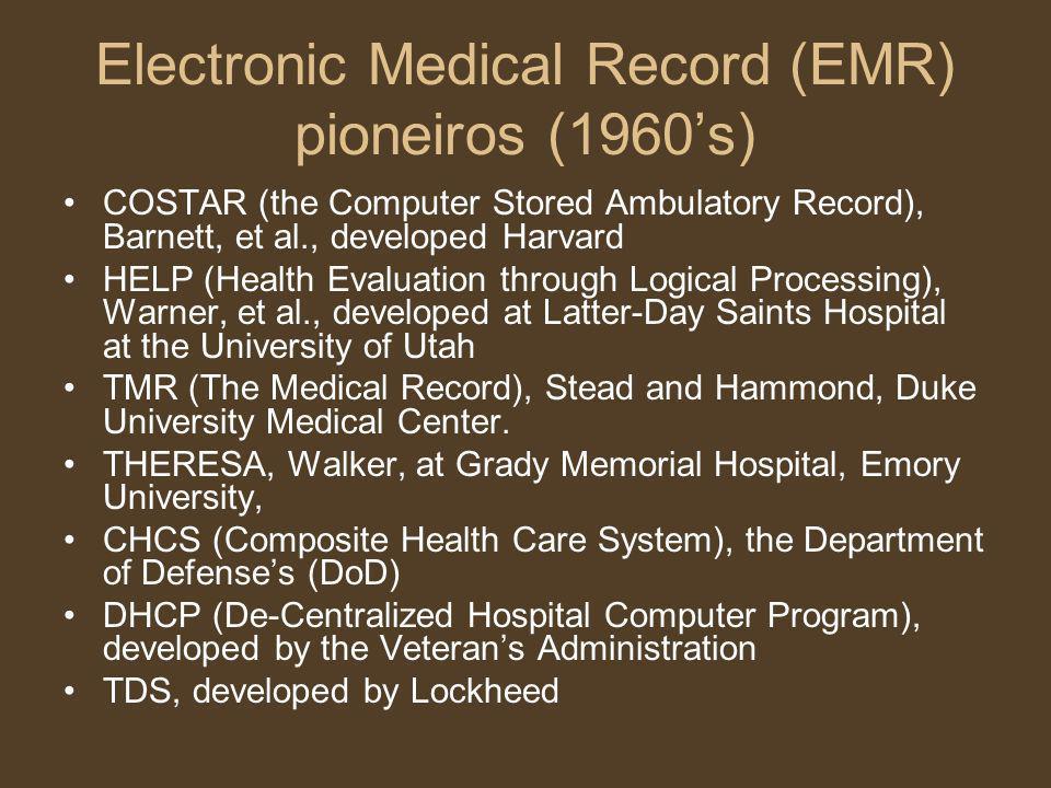 Electronic Medical Record (EMR) pioneiros (1960s) COSTAR (the Computer Stored Ambulatory Record), Barnett, et al., developed Harvard HELP (Health Eval