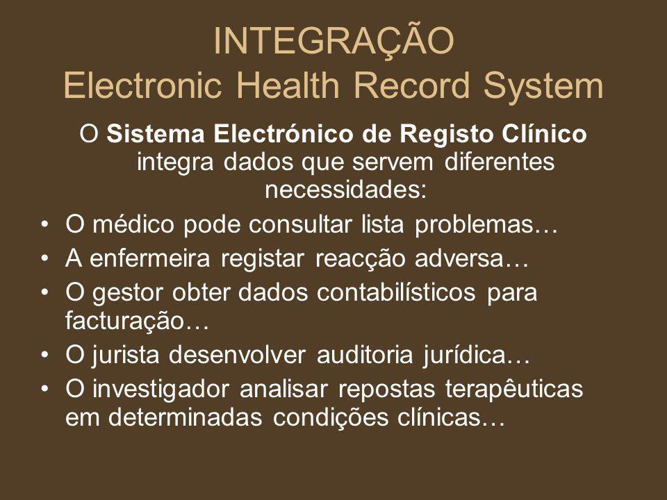O Sistema Electrónico de Registo Clínico integra dados que servem diferentes necessidades: O médico pode consultar lista problemas… A enfermeira regis