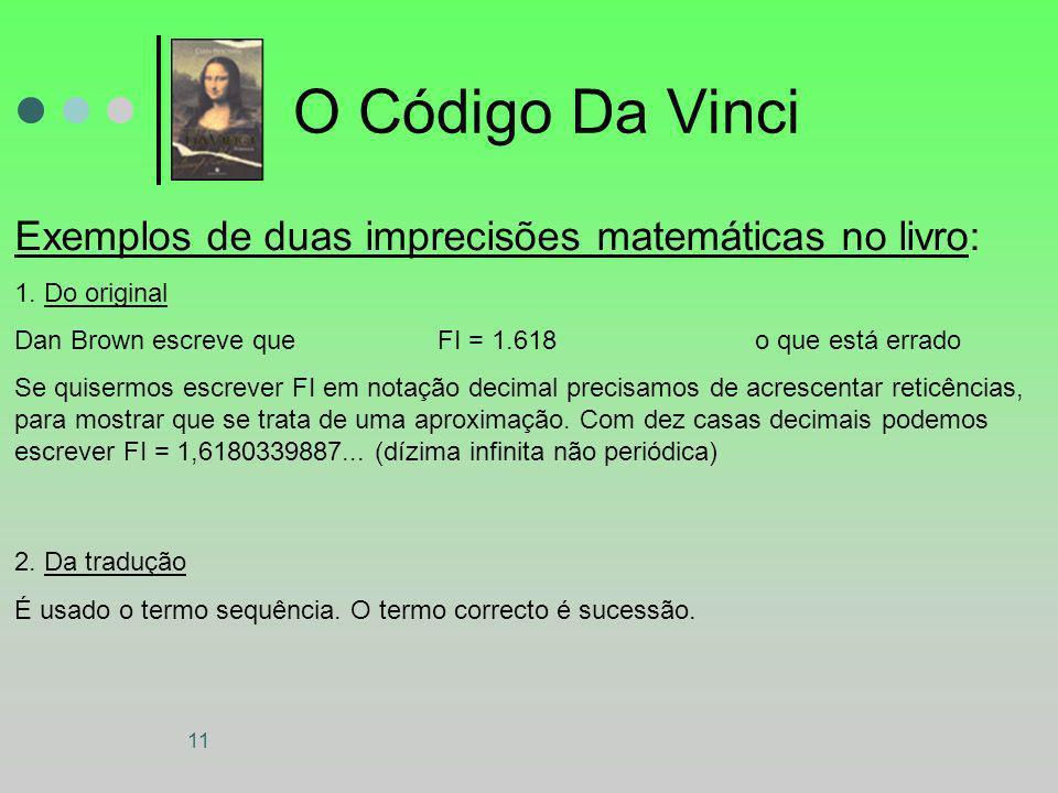 11 O Código Da Vinci Exemplos de duas imprecisões matemáticas no livro: 1. Do original Dan Brown escreve que FI = 1.618 o que está errado Se quisermos