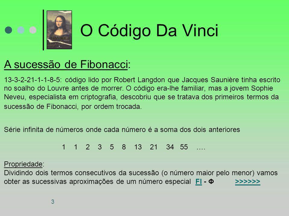 3 O Código Da Vinci A sucessão de Fibonacci: 13-3-2-21-1-1-8-5: código lido por Robert Langdon que Jacques Saunière tinha escrito no soalho do Louvre