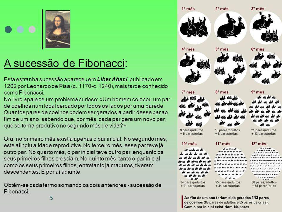 5 A sucessão de Fibonacci: Esta estranha sucessão apareceu em Liber Abaci, publicado em 1202 por Leonardo de Pisa (c. 1170-c. 1240), mais tarde conhec