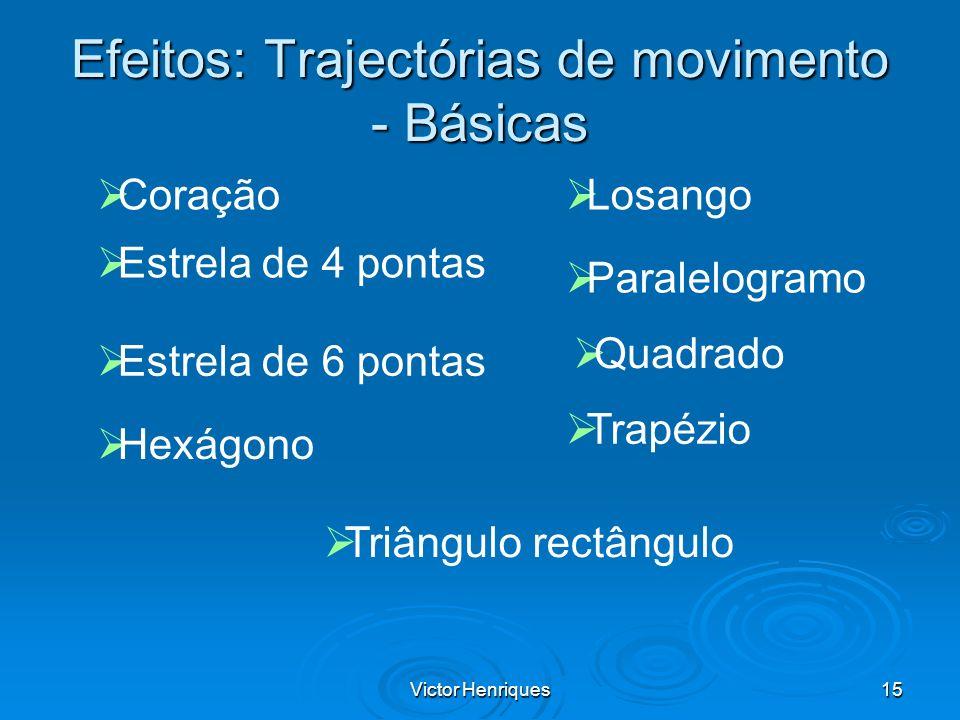Victor Henriques15 Efeitos: Trajectórias de movimento - Básicas Coração Estrela de 4 pontas Estrela de 6 pontas Hexágono Losango Paralelogramo Quadrad